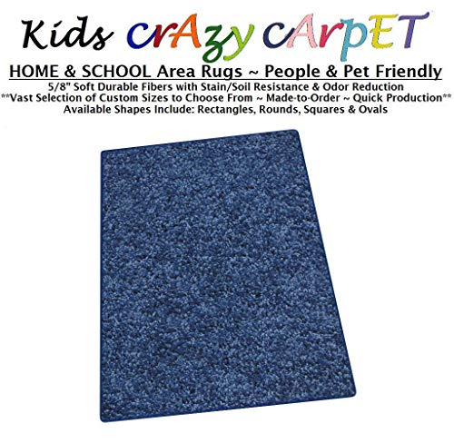 2' Box Seat - 2'x3' Super Hero Blue ~ Kids Crazy Carpet Home & School Area Rugs | People & Pet Friendly – R2X Stain Resistance & Odor Reduction