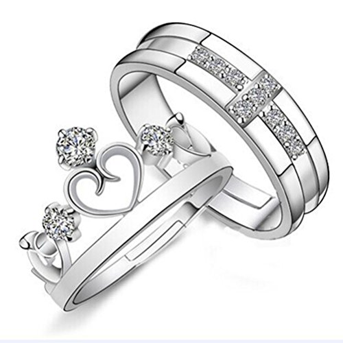 AIMTOPPY Prince & Princess beloved Imperial Crown Adjustable Rings Gift - Prince Ring Sapphire