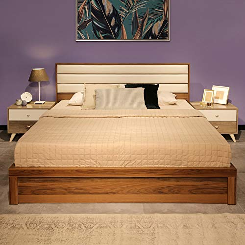 Evok Walton Queen Size Bed with Hydraulic Storage  Walnut