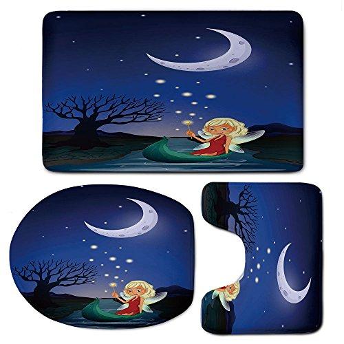 3-Piece Bath Mat Set Bath Rug Set,Fantasyon Slip Bathroom Rugs for Kitchen Shower and Toilet,Elf Pixie Sitting on The Boat Under Full Moon Sky Night Magic Fairy Girlish Graphic