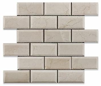 X Crema Marfil Marble Polished Beveled Brick Mosaic Tile Box - 2 x 4 floor tiles