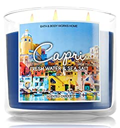 Bath and Body Works Capri Fresh Water and Sea Salt Candle - Italy Limited Edition Destination Candle Collection