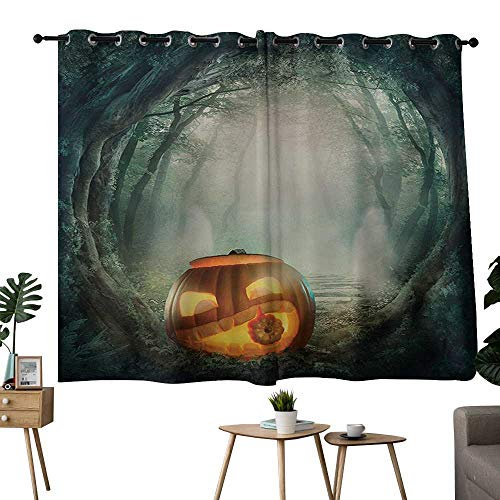NUOMANAN backout Curtains for Bedroom Halloween,Drawing of Scary Halloween Pumpkin Enchanted Forest Mystic Twilight Party Art,Orange Teal,Insulating Room Darkening Blackout Drapes 52
