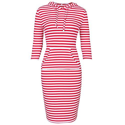 Samtree Women's Casual Hoodie Dress 3/4 Sleeve Knee Length Kangaroo Pocket Pullover(L(12-14),Red ()