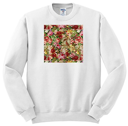 Price comparison product image Andrea Haase Art Illustration - Vintage Flower Pattern With Bird Cage - Sweatshirts - Youth Sweatshirt Large(14-16) (SS_268477_12)