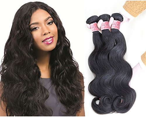 Alibd Virgin Hair Body Wave 100% Remy Human Hair Unprocessed Hair Extensions Natural Black Color Hair (18'' 20'' 22'', body wave bundles)