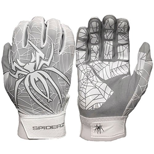 Spiderz LITE Batting Gloves with Enhanced Silicon Spider Web Grip (White/Silver, Adult X-Large)