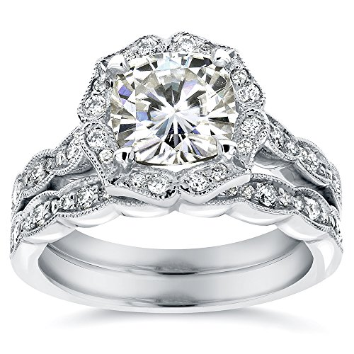 Antique Floral Cushion-cut Moissanite Bridal Set With Diamond 2 1/6 CTW 14k White Gold