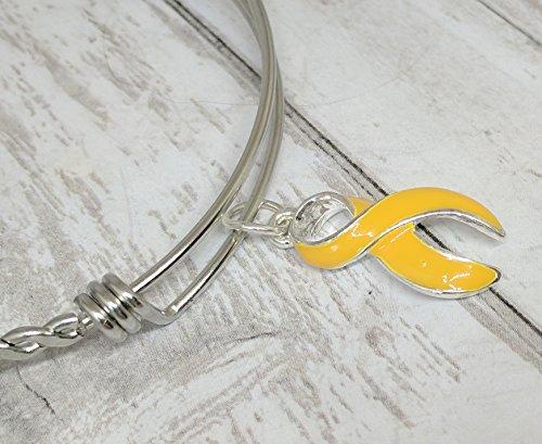 - yellow awareness ribbon bangle bracelet: gold awareness ribbon, childhood cancer awareness
