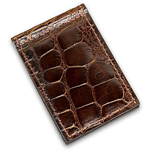 (Genuine Alligator Leather Slim Skinny Clip Wallet Handmade (Brown))
