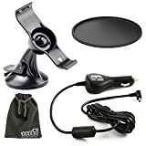 EEEKit Car Charger Kit for Garmin Nuvi 50 50LM 50LMT GPS, Rotatable Car Windshield Mount, Car Vehicle Charger and Suction Up Pad
