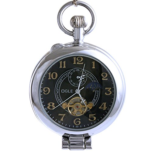 Ogle Waterproof Silver Magnifier Tourbillon Phases Moon Chain Fob Self Winding Automatic Skeleton Half Hunters Mechanical Pocket Watch (Silver