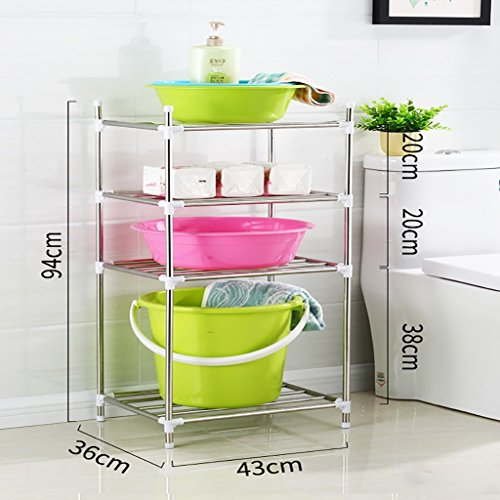 Mmugfdfhf Shelf Fashion Capital Shelf Sink Stainless Steel Floor Wash Rack Multilayer Shelving Bathroom Storage Rack (Size: 54 36 43cm) (Color : -, Size : 94 36 -