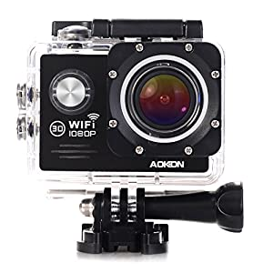 Aokon Action Camera SJ7000 Sports Waterproof Camera 1080P 12M HD Helmet Motorcycle Underwater Cam - 170 Wide Angle Lens - 2.0 LCD - 4X Zoom - 2 Batteries & 19 Accessories Kit (Black)
