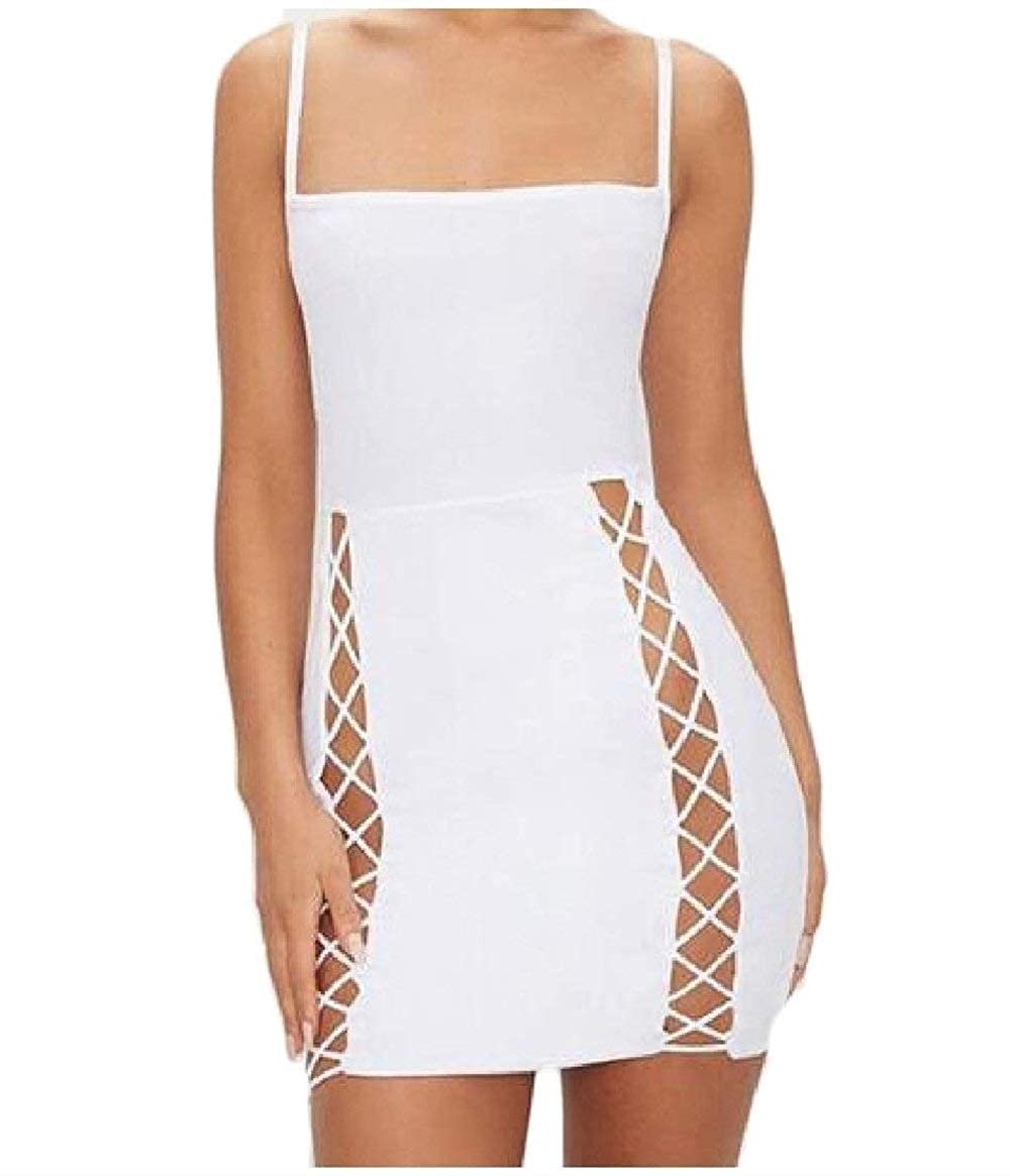 Babaseal uninukoo-Women Clothes Unko Womens Bodycon Wild Strap Bandage Sleeveless Shift Dress