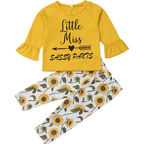 Newborn Infant Baby Floral Clothes,Autumn Girl Boy Long Sleeve Tops+Long Pants 2Pcs Outfits Set,0-3 Years (Yellow B, 6-12 Months)