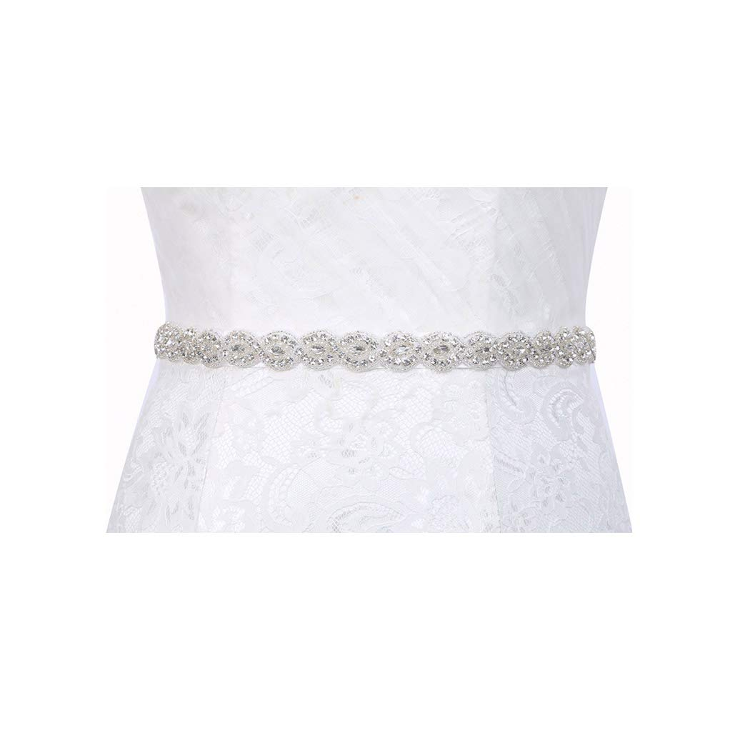 6ec285e467 Brishow Women's Thin Wedding Belt Silver Rhinestone Crystal Bridal ...