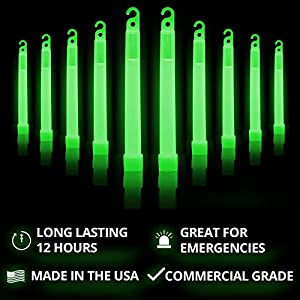 "Cyalume Green Glow Sticks – 12 Hours of Premium Bright Light, 6"" SnapLight Light Sticks for a Variety of Uses (10 Pack)"
