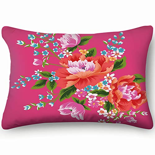 best bags Taiwan Traditional Chintz Cotton Linen Blend Decorative Throw Pillow Cover Cushion Covers Pillowcase Pillow Shams, Home Decor Decorations for Sofa Couch Bed Chair 20X36 Inch