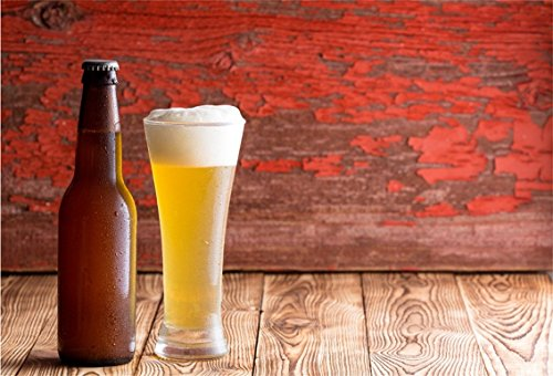 CSFOTO 5x3ft Background for Ice Cold Frothy Pale Ale in a Long Glass Photography Backdrop Oktoberfest Peeling Red Wood Drink Fresh Tavern Brew Malt Rustic Photo Beer Studio Props Polyester Wallpaper -