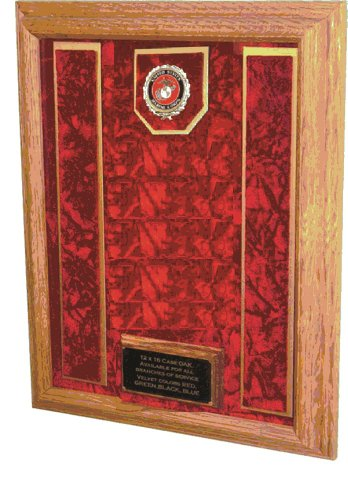 Military Medal Awards Display Case - 16x20 - Shadow Box (USMC EGA Emblem/Red Velvet)