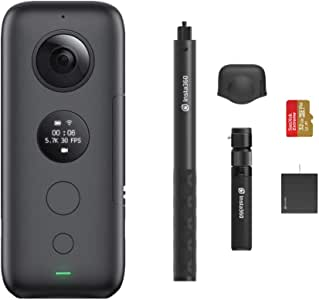 Insta360 ONE X Panoramic Sports Video Action Camera 5.7K 18MP Stabilization Real Time WiFi Transfer Vlogger Kit, Memory Card, Selfie Stick, Handle/Tripod, Battery, Lens Cap Included