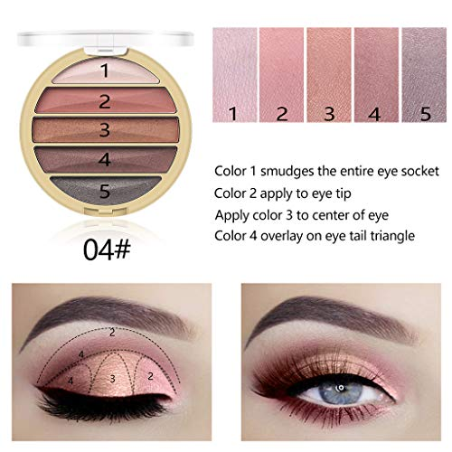 Flurries ❦ 5 Colors Pigmented New Nude Sequins Eyeshadow Palette Matte Glitter Shiny Eye Shadow Makeup Pallet Warm Color Neutrals Golden Powder Long Lasting Shimmer Cosmetics (D)