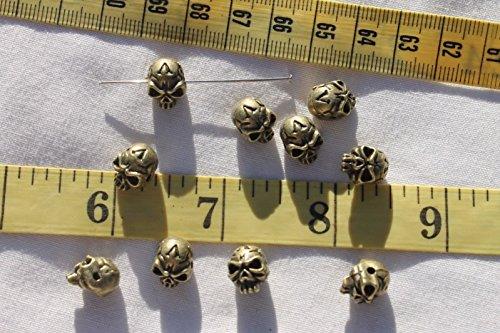 Tibetan 9x11mm Creepy Halloween Style Skull Ant Bronze Jewelry Beads for Jewelry Making, Supply for DIY Beading Projects TSA26 (Pony Bead Patterns Halloween)