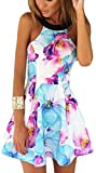 FANCYINN Women Sexy Halter Neck Floral Print Backless Beach Skater Mini Dress M