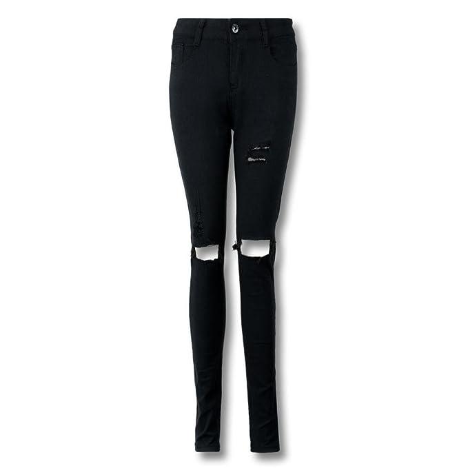 4e7f89b3bdaa74 Luoluoluo Jeans Strappati Donna Pantaloni da Donna Pantaloni Jeggings Skinny  da Donna Elasticizzati, Strappati (