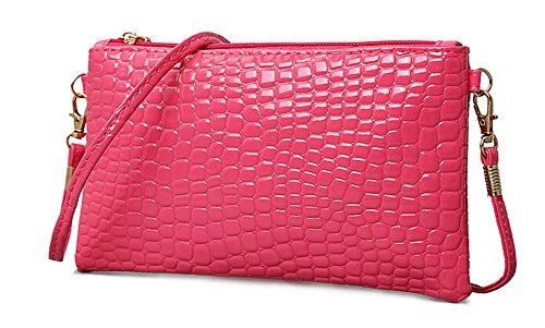 Women Crocodile Pattern PU Leather Crossbody Handbag MINI Messenger Bag Sling Shoulder Handbags Zipper Tote Bags (Rose red)