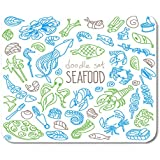 Nakamela Mouse Pads Line Food of Doodles Rough Simple Seafood Sketches White Squid Japanese Mouse mats 9.5