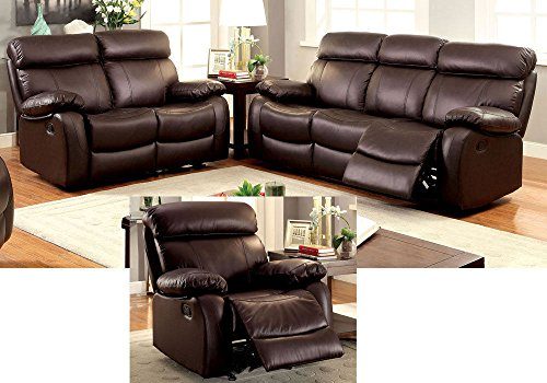 1PerfectChoice 3 pcs Elegant Plush Sofa Couch Loveseat Glider Recliner Brown Top Grain Leather