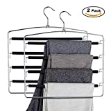 DOIOWN Pants Hangers Slacks Hangers Space Saving Non Slip Stainless Steel Clothes Hangers Closet Organizer for Pants Jeans Trousers Scarf (2-Pack)