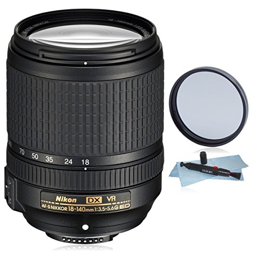 Nikon AF-S DX 18-140mm f/3.5-5.6G ED VR Lens (White Box) for Nikon DX DSLR Cameras D3100, D3200, D3300, D5100, D5200, D5300, D5500, D7000, D7100, D7200… + AUD Essential Accessory Bundle