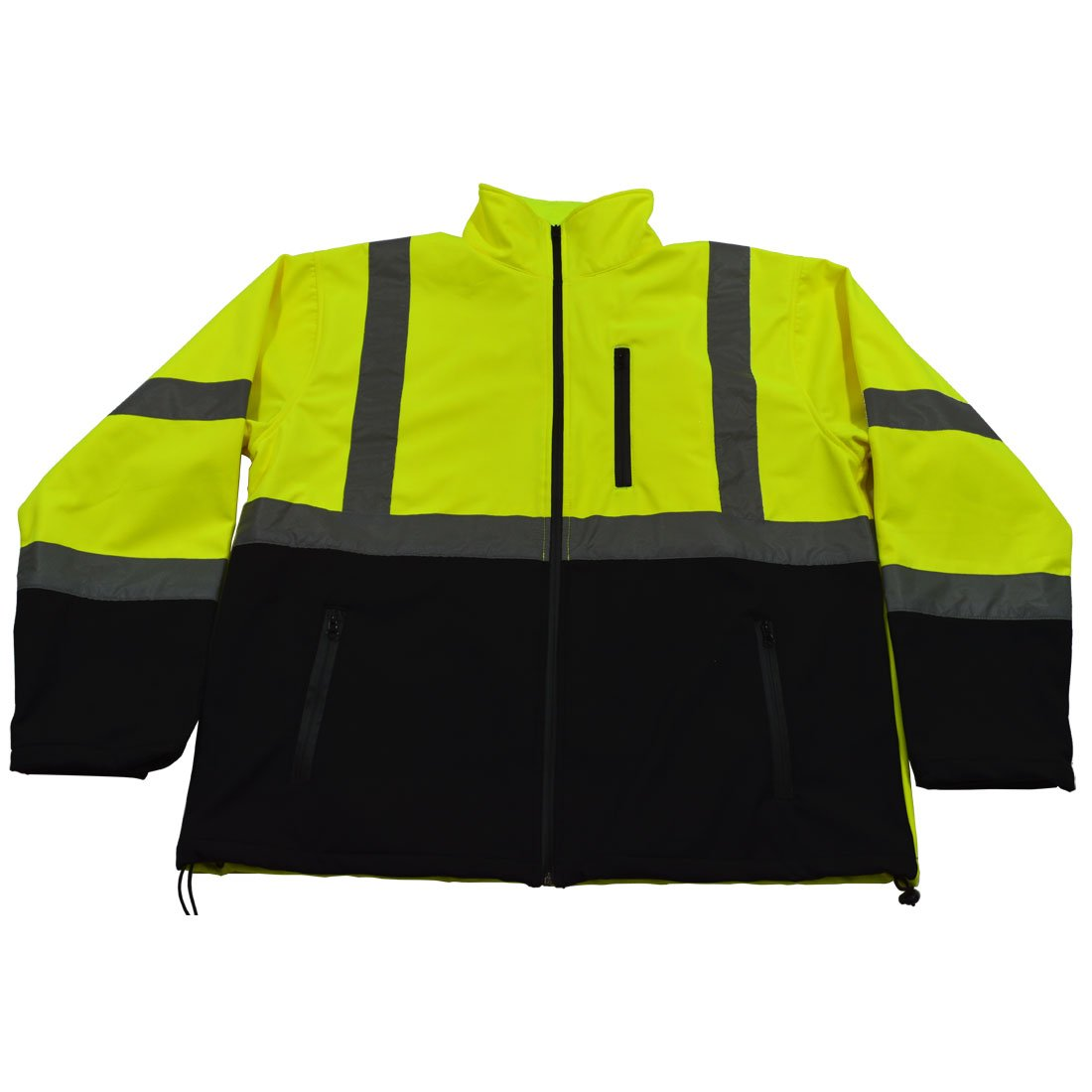 Petra Roc LBSFJ1-C3-M ANSI 107 Class 3 Water Resistant Softshell High Visibility Safety Jacket, Medium, Lime/Black