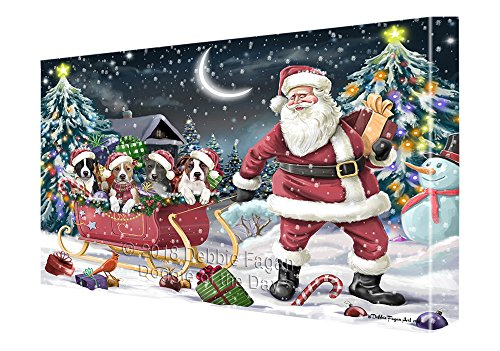 Santa Sled Dogs Christmas Happy Holidays American Staffordshire Terriers Dog Canvas Print Wall Art Décor CVS82664 (11x14)