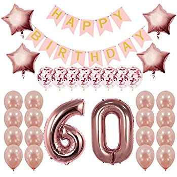 d397223b Rose Gold 60th Birthday Decorations Party Supplies Gifts for Women - Create  Unique Events with Happy Birthday Banner, 60 Number and Confetti Balloons