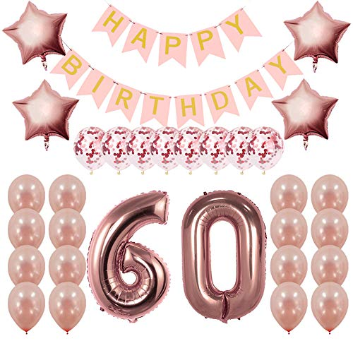 Rose Gold 60th Birthday Decorations Party Supplies Gifts for Women - Create Unique Events with Happy Birthday Banner, 60 Number and Confetti Balloons