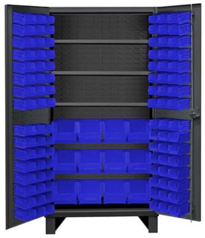 Durham HDC36-108-3S5295 Lockable Cabinet with 108 Blue Hook-On Bins, 36