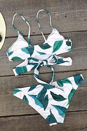 set Cross spiaggia donna Seaselfie bagno costume da costumi bikini leaves Printing da bagno Fresh imbottitura x0PwZp0q