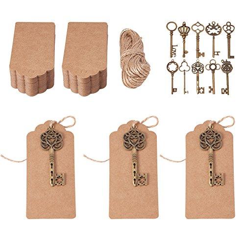 PandaHall Elite Mixed Set of 50 Vintage Bronze Skeleton Key Charm With 100PCS Kraft Paper Gift Tags & 65 Feet Natural Jute Twine Antique Bronze Charm Pendants Wedding Favor