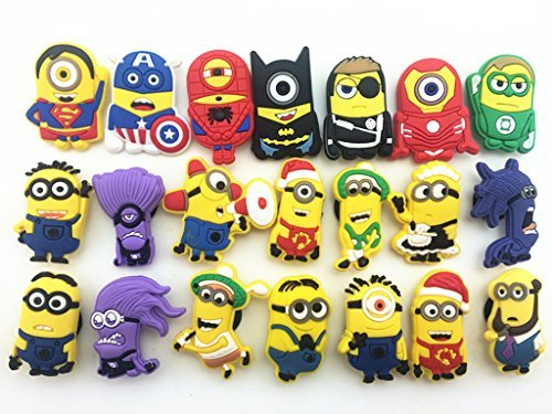 New 21pc Despicable Me Minions Yellow Shoe Charms for Croc Shoes & Wristband Bracelet (Despicable Me Shoes)