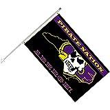 Seasonal Designs, INC. NCAA East Carolina Pirates Collegiate Helmet Flag Kit, Size 3 x 5