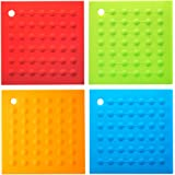 Silicone Pot Holders-Silicone Trivet Mats Hot Pads Pot Holders Heat Resistant Spoon Rest for Hot Dishes-Non Slip,Durable,Dishwasher & Freezer Safe (Set of 4)