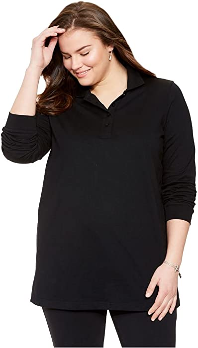 5d12bf65f4d5c Woman Within Plus Size Long Sleeve Polo Tee - Black