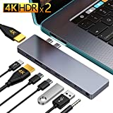 USB C Hub GIKERSY 8-in-1 USB C Docking Station Compatible with MacBook Pro 2019 2018-2016 13 15 with case 2 HDMI 4K USB-C 87W Power Delivery 2USB-C Data Ports 2USB 3.0 Ports 3.5mm Audio Jack