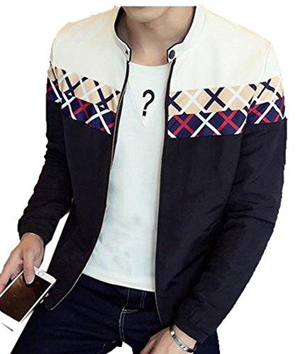 Comfy Mens Long Sleeve Floral Zipper Stand Collar Resolve Jacket Black 4XL