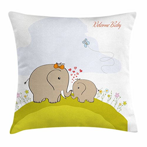 Ambesonne Nursery Throw Pillow Cushion Cover, Baby Shower Inspired with Mother Baby Elephant Love Children, Decorative Square Accent Pillow Case, 40 X 40 Inches, Cocoa Baby Blue Pistachio Green - Cocoa Pistachio