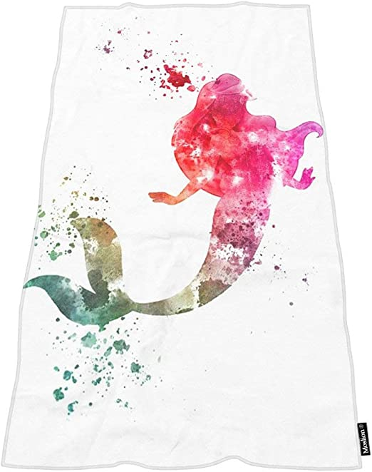 16 x 30 Inches Naanle Fantasy Beautiful Mermaid Scale Printed Luxury Soft Bath Towel Highly Absorbent Large Hand Towels Multipurpose for Bathroom Hotel Gym and Spa